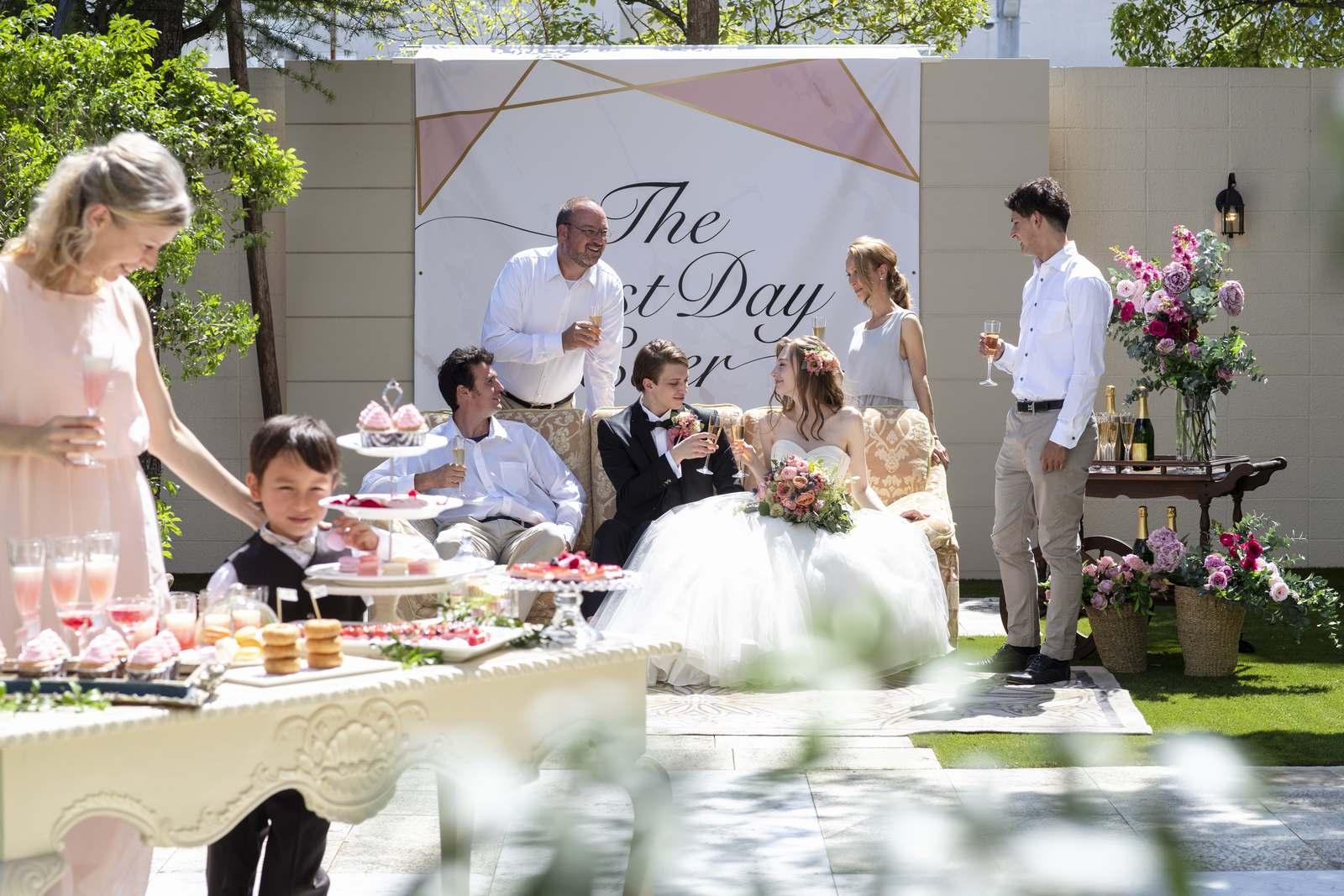 香川県の結婚式場シェルエメールのスイートLのガーデンでの結婚式イメージ