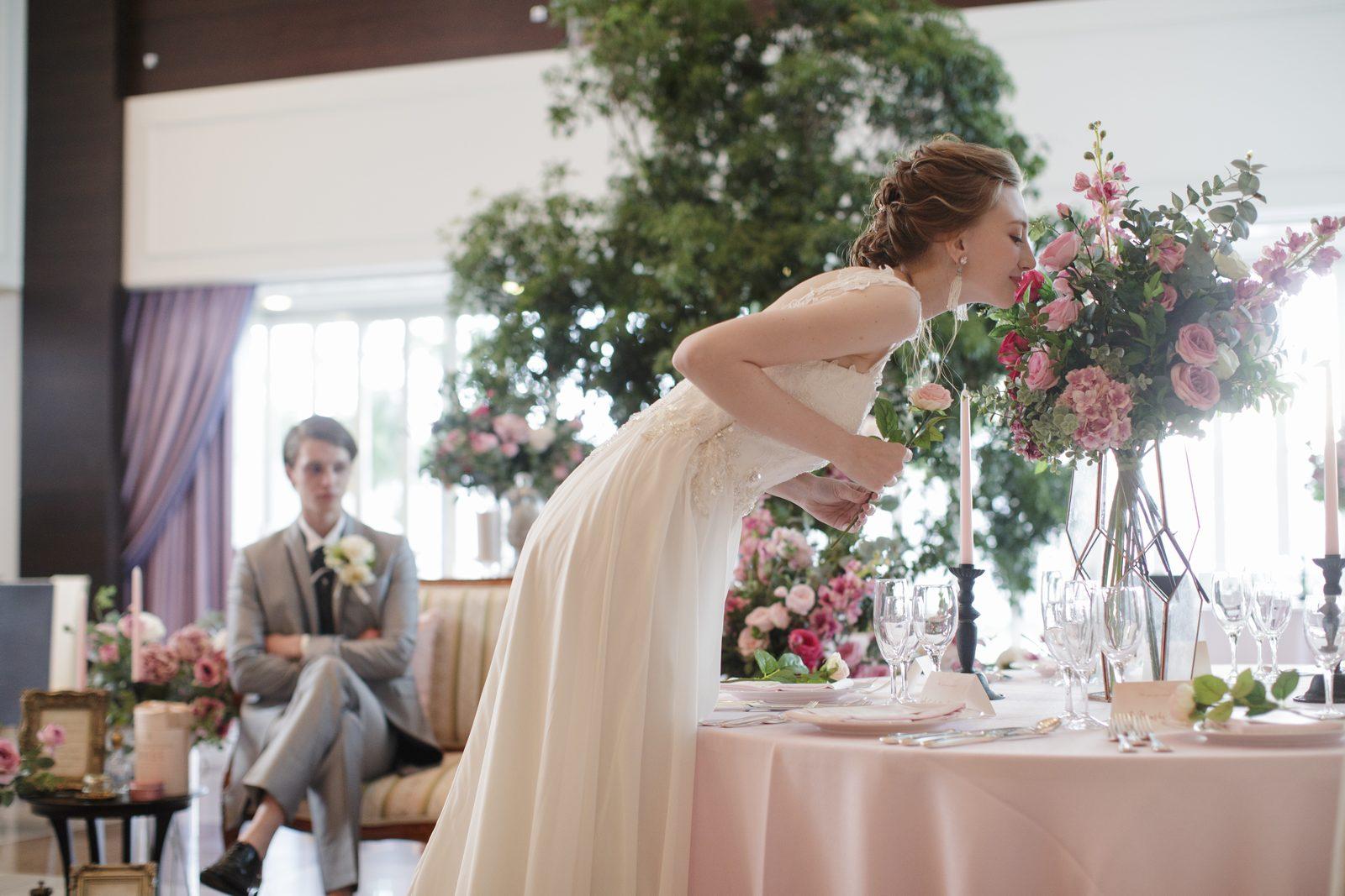 香川県の結婚式場シェルエメール&アイスタイルのスイートLのテーブルコーディネート