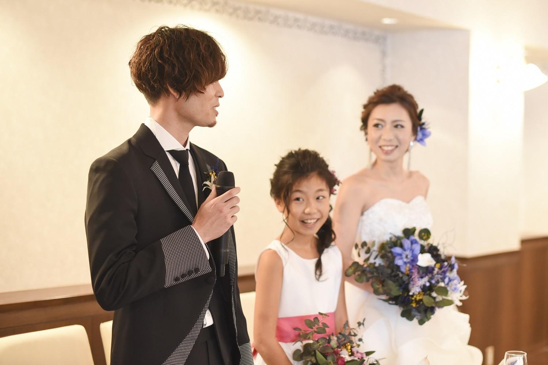 香川県の結婚式場シェルエメールの新郎新婦とお子様