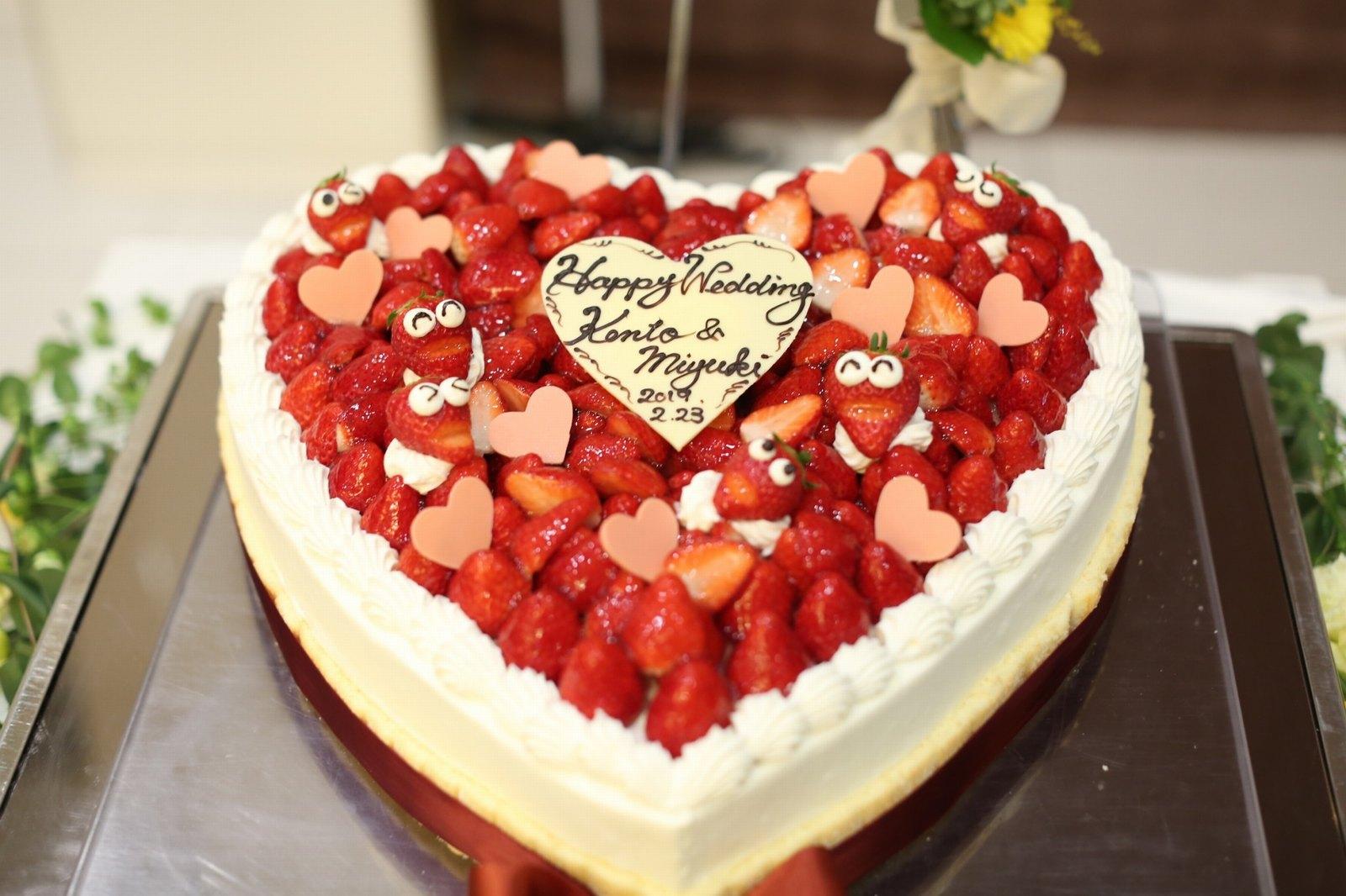 香川の結婚式場のシェルエメール&アイスタイルのハートのケーキ