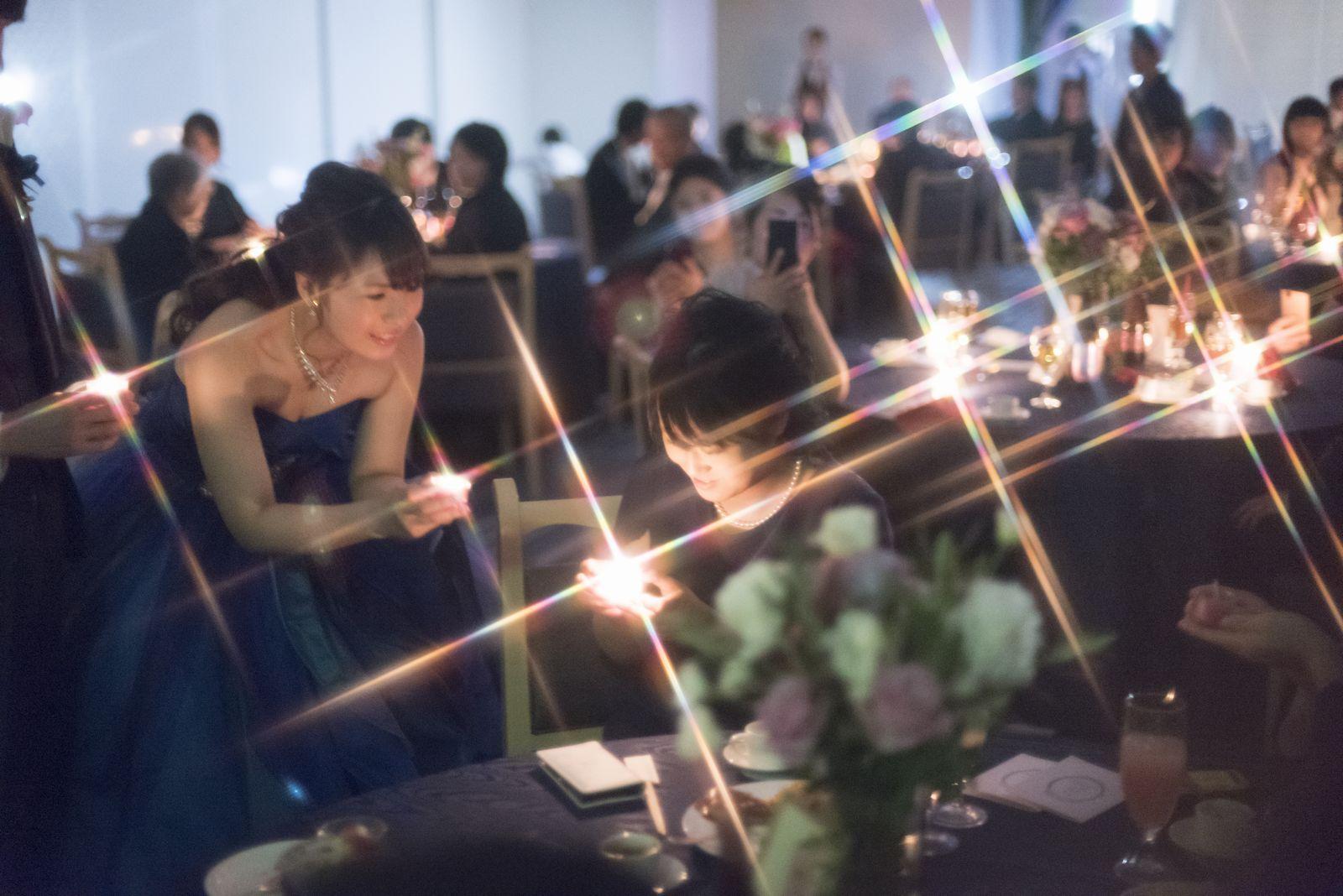 香川の結婚式場のシェルエメール&アイスタイルのイルミネーションみたいなキャンドル