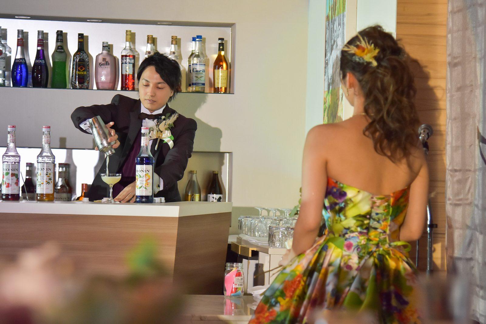 香川県の結婚式場シェルエメール&アイスタイルのカクテルパフォーマンス