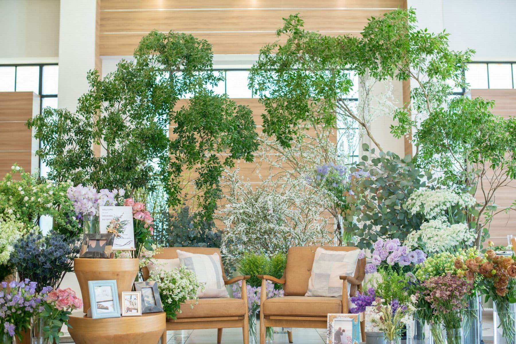 香川県の結婚式場シェルエメール&アイスタイルの新しいナチュラルなグリーンコーディネート