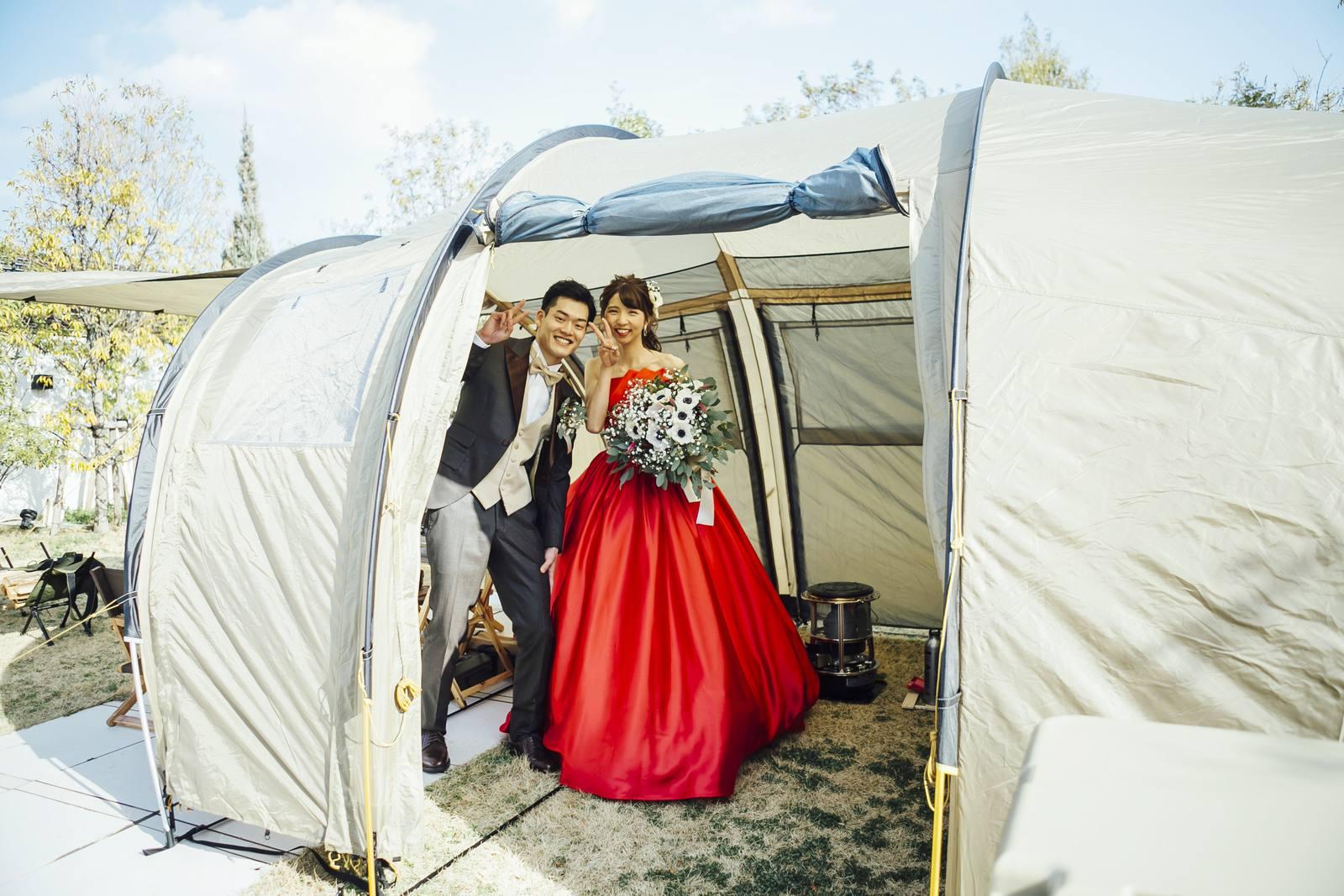 香川県の結婚式場シェルエメール&アイスタイルのテント入場